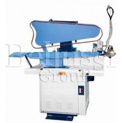 Pneumatic press with universal plate for trousers