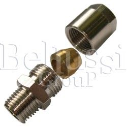 """Nipple 1/4"""" (external thread) with clamp barrel for 6 mm glass tube"""